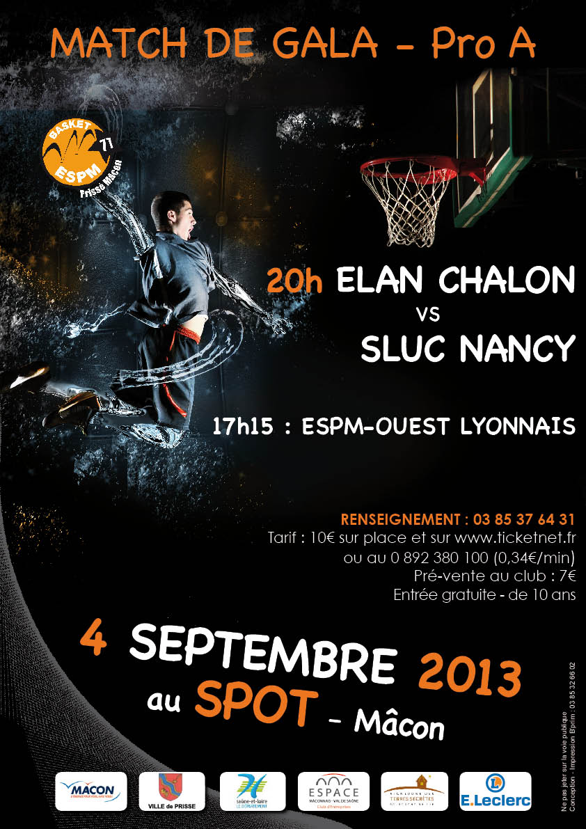 Match de gala basket ELAN Chalon - SLUC Nancy